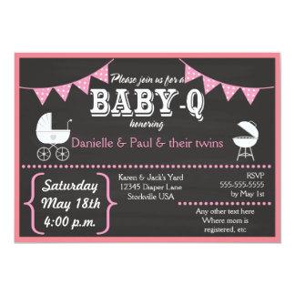 Baby-q Tafel-Babyparty-Einladungen (Pink2) Karte