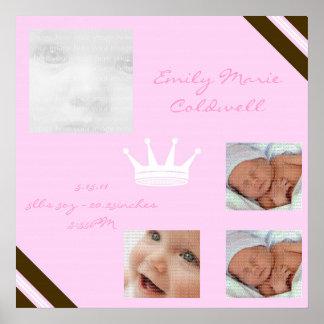 Baby-Rosa-Königin-Collagen-gerahmte Wand-Kunst Poster