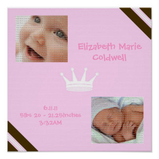 Baby-Rosa-Königin-Collagen-Wand-Kunst-Plakat