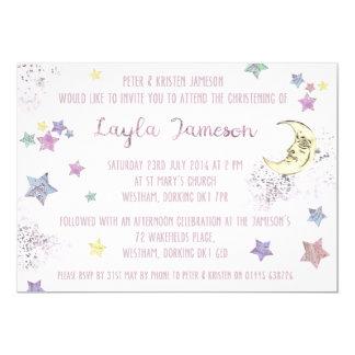 Baby-Rosa-Mond und Stern-Party Einladung