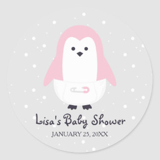 Baby-Rosa-Pinguin-Babyparty-Aufkleber Runder Aufkleber