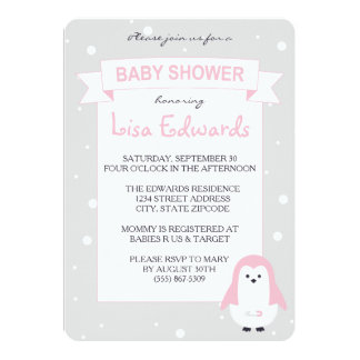 Baby-Rosa-Pinguin-Babyparty-Einladung 12,7 X 17,8 Cm Einladungskarte