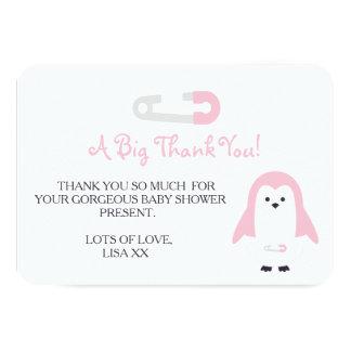 Baby-Rosa-Pinguin danken Ihnen Karte