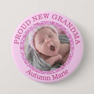 Baby-rosa stolzer Großmutter-Knopf Runder Button 7,6 Cm