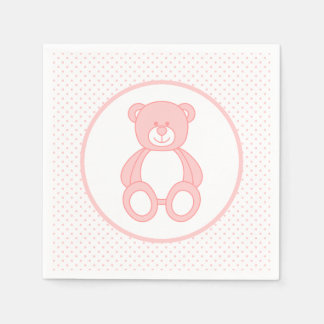 Baby-Rosa-Teddybär-Papierservietten Servietten