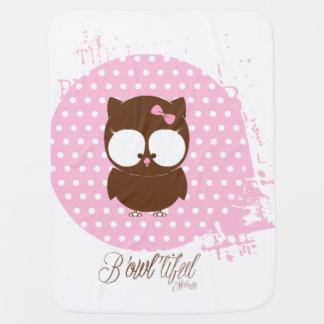 Baby-rosa und braune Eulenentwurf Decke