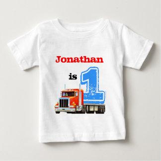 Baby-roter flaches Bett-LKW-1. Geburtstag Baby T-shirt