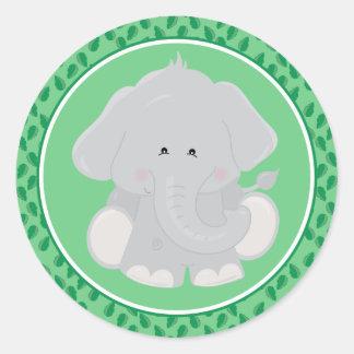 Baby-Safari-Tier-runder Aufkleber des Elefant-|