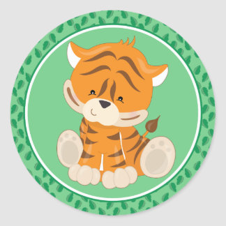 Baby-Safari-Tiere des Tiger-| Runder Aufkleber