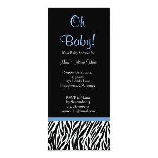 Baby shower bleu blanc noir d'impression de zèbre carton d'invitation  10,16 cm x 23,49 cm