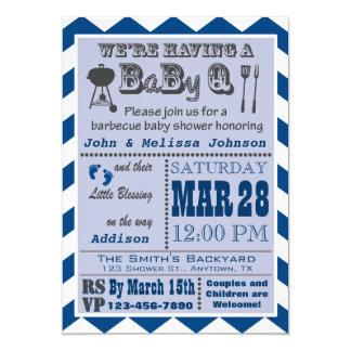 Baby shower de BaByQ de barbecue de marine Carton D'invitation 12,7 Cm X 17,78 Cm