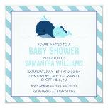 Baby shower de baleine de maman et de bébé {bleu} carton d'invitation  13,33 cm