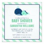 Baby shower de baleine de maman et de bébé {vert} carton d'invitation  13,33 cm