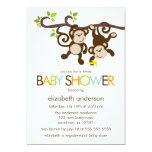 Baby shower de jumeaux de singes et de pois invitation