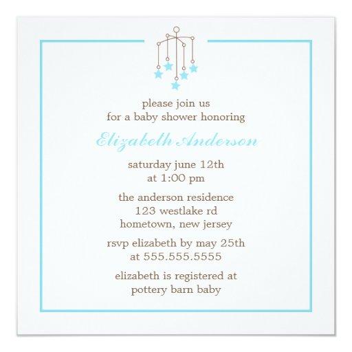 Baby shower de mobile de bébé bleu carton d'invitation  13,33 cm
