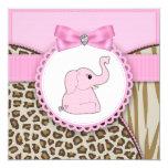 Baby shower élégant d'éléphant rose faire-parts