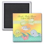 Baby shower gai de créatures de mer de bébé magnet carré