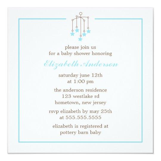 Baby shower mobile de garçon de bébé bleu carton d'invitation  13,33 cm