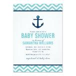 Baby shower nautique d'ancre et de chevrons {bleu} carton d'invitation  12,7 cm x 17,78 cm