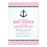 Baby shower nautique d'ancre et de chevrons {rose} carton d'invitation  12,7 cm x 17,78 cm