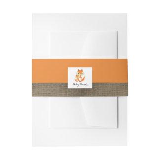 Baby shower orange de toile de jute de Fox Bandeaux De Faire-part