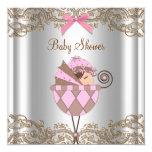 Baby shower rose de fille de dentelle de Brown Faire-parts