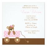 Baby shower rose d'ours de chariot invitations personnalisées