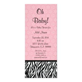 Baby shower rose Ver de fille d'impression de Carton D'invitation 10,16 Cm X 23,49 Cm