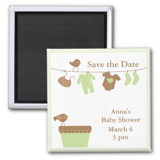 Baby shower vert de corde à linge magnet carré