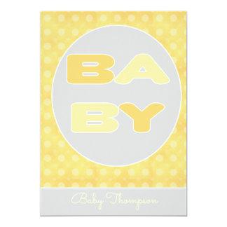 Baby-Text-Duschen-Einladung (Gelb) 12,7 X 17,8 Cm Einladungskarte