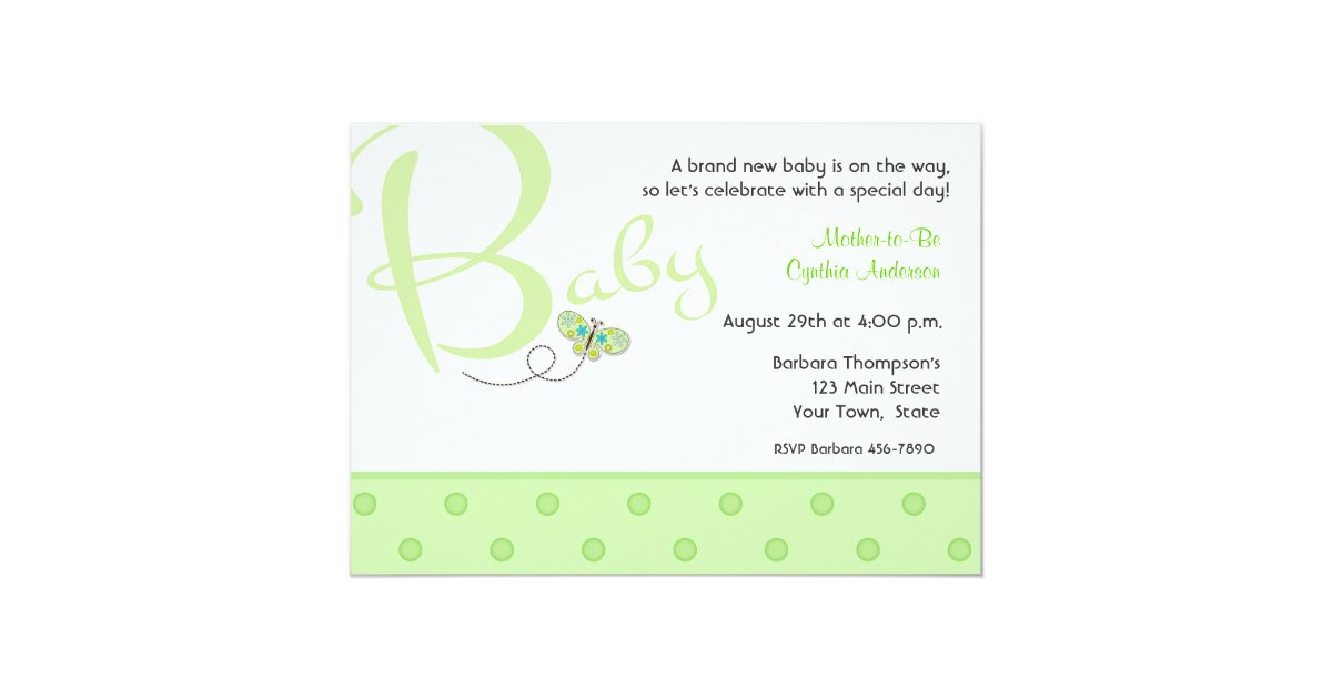 Baby-Text-Grün-Babyparty-Einladung Karte | Zazzle.ch