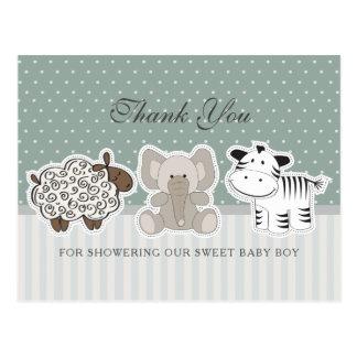 Baby-Tiere für Babyparty | danken Ihnen Postkarte
