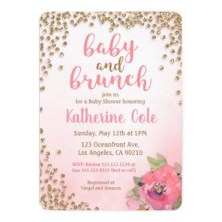 Baby-und Brunch-Baby-Duschen-Glitzer-Einladung Karte