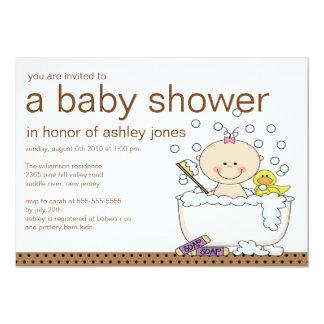Baby-Wanne-Mädchen-Babyparty 12,7 X 17,8 Cm Einladungskarte