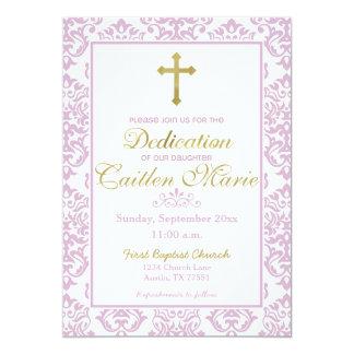 Baby-Widmungs-Einladungs-Rosa und Gold Karte