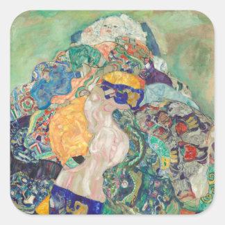 Baby-Wiege Gustav Klimt Quadratischer Aufkleber