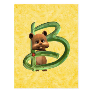 BabyBear Toon Monogramm B Postkarte