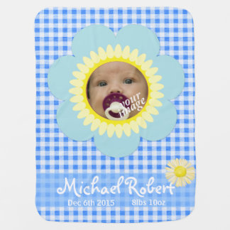 Babydecke 2 des blauen Ginghams der Sonnenblume