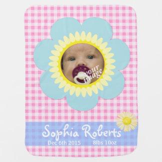 Babydecke des rosa Ginghams der Sonnenblume