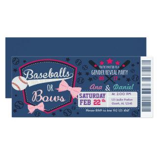 Babygeschlecht decken - Baseball oder Bögen auf 10,2 X 23,5 Cm Einladungskarte