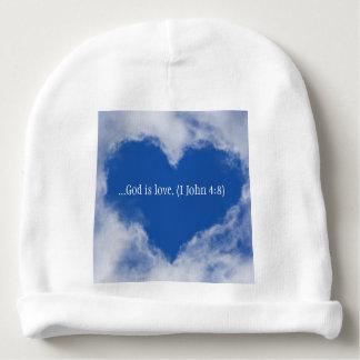 """Babyhut mit Wörtern """"Gott ist Liebe"""" u. Babymütze"""
