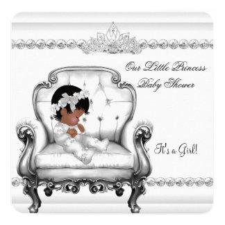 Babyparty-Afroamerikaner-Prinzessin Girl Chair Quadratische 13,3 Cm Einladungskarte