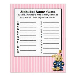 Babyparty-Alphabet-Name BINGO Spiel-Häschen Flyer