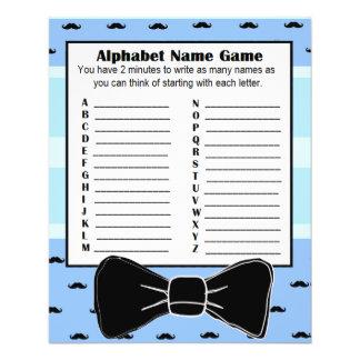 Babyparty-Alphabet-Name BINGO Spiel-Schnurrbart Flyer