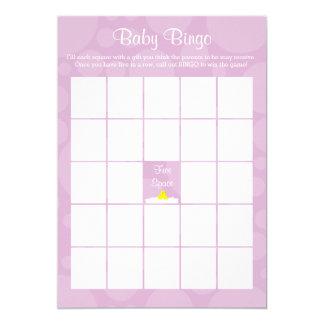 Babyparty-Bingo - Ducky Gummithema - Flieder 12,7 X 17,8 Cm Einladungskarte