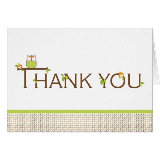 Babyparty danken Ihnen - neutrale Baby-Eule Mitteilungskarte