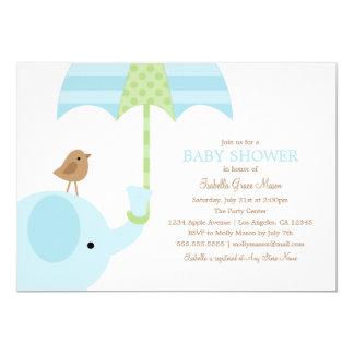 Babyparty des Baby-Blau-Elefant-  laden ein 12,7 X 17,8 Cm Einladungskarte
