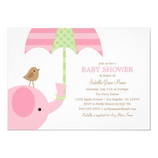 Babyparty des Baby-rosa Elefant-  laden ein 12,7 X 17,8 Cm Einladungskarte
