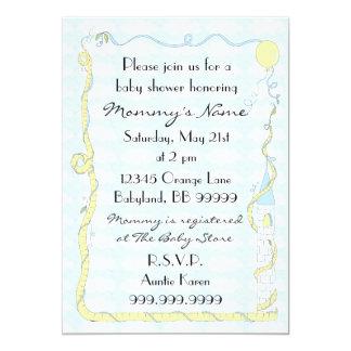 Babyparty-Einladung. Gelb/Blau/Schloss 12,7 X 17,8 Cm Einladungskarte