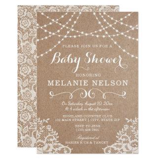 Babyparty-Einladung, Land-Spitze und Kraftpapier Karte
